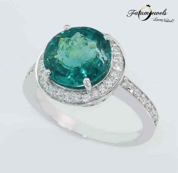 Fehérarany gyémánt paraiba turmalin gyűrű
