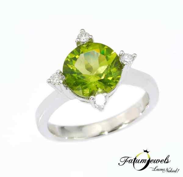Gyémánt peridot gyűrű