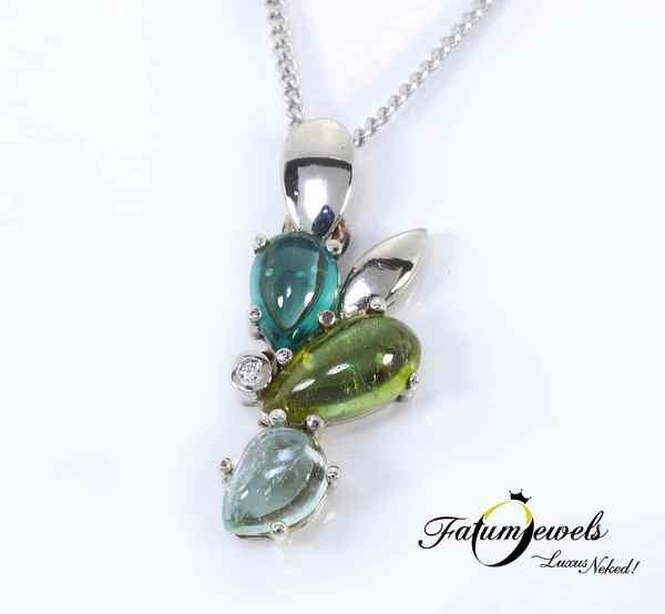 Fehérarany gyémánt turmalin medál a Fatumjewelstől