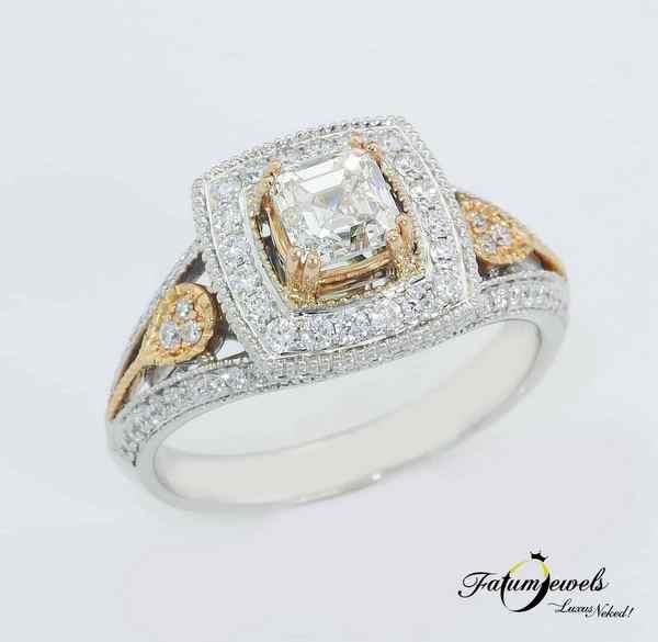 Hercegnő bikolor gyémántgyűrű asscher gyémánttal