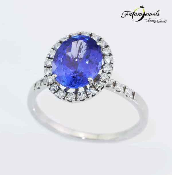 Fehérarany gyémánt tanzanit gyűrű