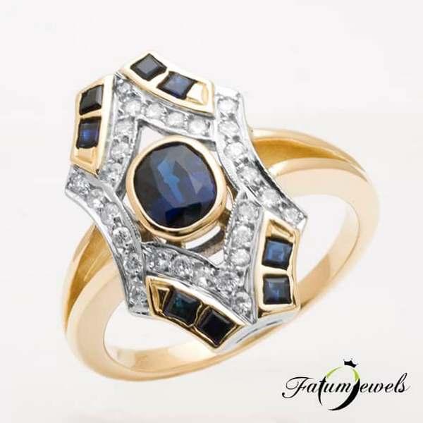 Sárga arany egyedi gyémánt zafír gyűrű a Fatumjewelsnél