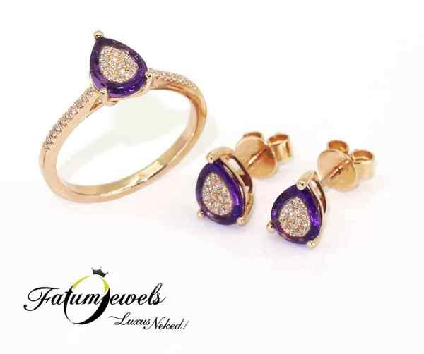 Fatumjewels rozé arany gyémánt ametiszt ékszer szett