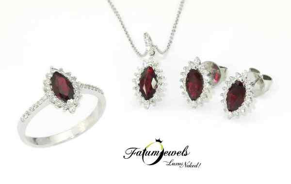 Gyémánt rubin ékszer szett július