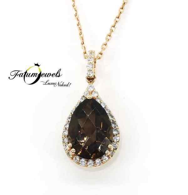 Rozé arany gyémánt füstkvarc medál a Fatumjewelstől