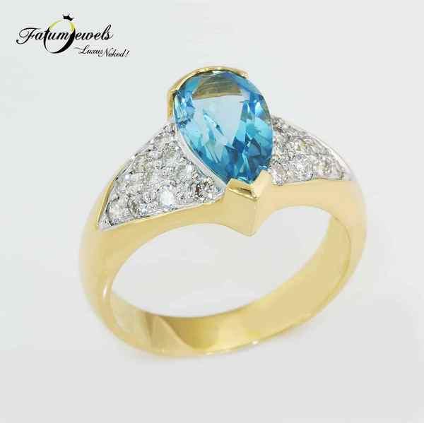 Fatumjewels egyedi sárga arany gyémánt akvamarin gyűrű