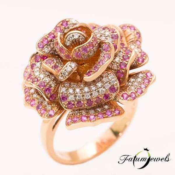 Csipkerózsika gyémánt rózsaszín zafír gyűrű szeptember