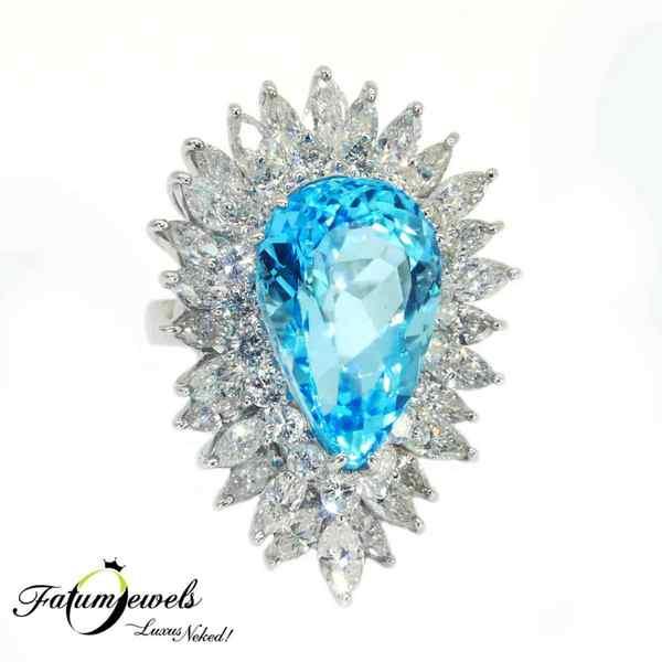 Hollywood Moments gyémánt topáz gyűrű november