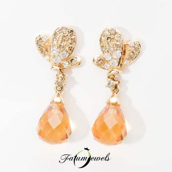 Gyémánt citrin fülbevaló november