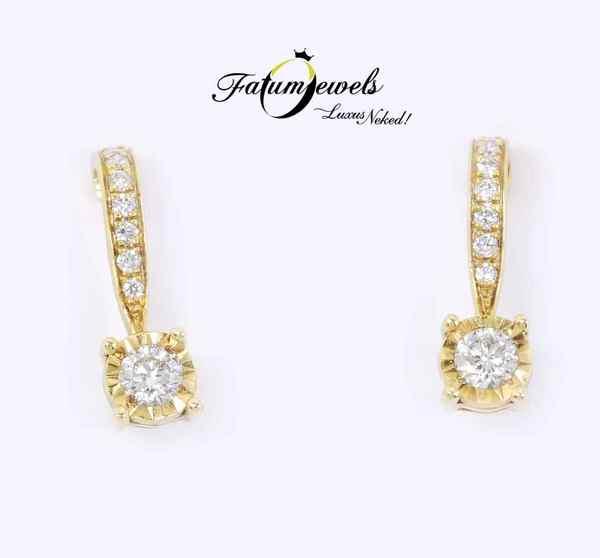 Fatumjewels sárga arany gyémánt fülbevaló
