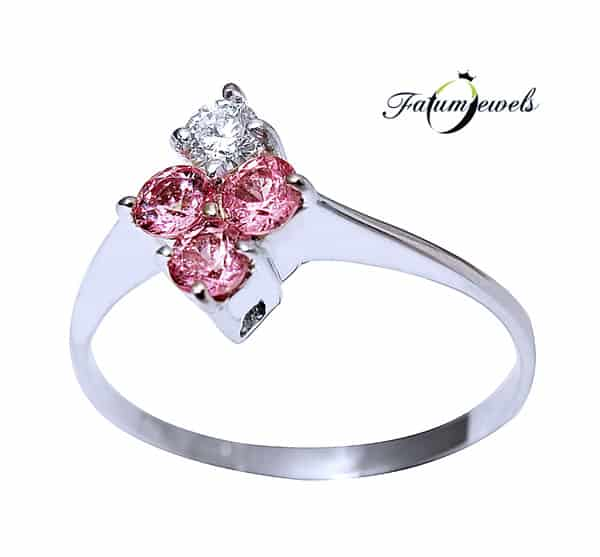 Fatumjewels fehérarany gyémánt rózsaszín zafír gyűrű