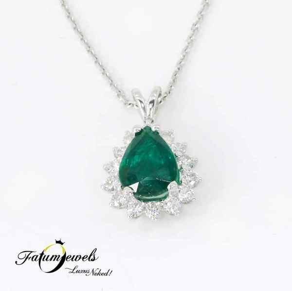 Fatumjewels gyémánt smaragd medál nyaklánccal