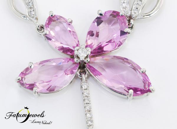 Fatumjewels fehérarany gyémánt morganit nyakék