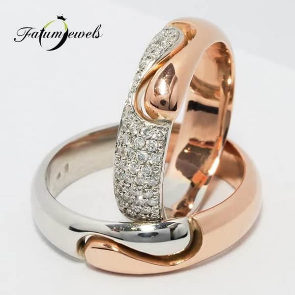 Briliáns gyémánt Fatumjewels bikolor karikagyűrű